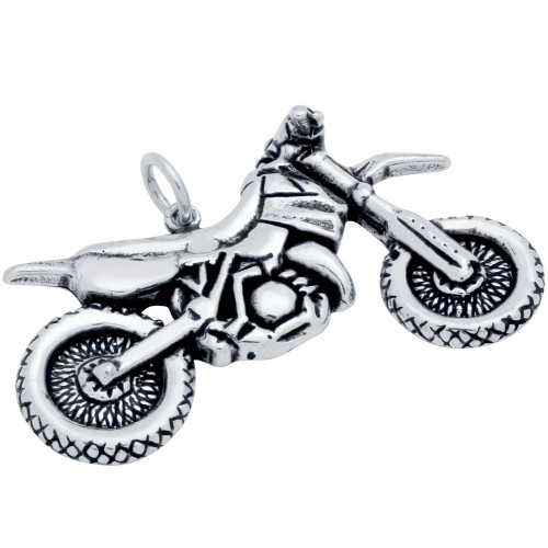 STERLING SILVER 40MM MOTORCYCLE PENDANT