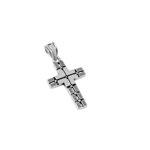 STERLING SILVER 14MM BLOCK-DESIGN STYLIZED CROSS PENDANT