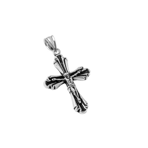 STERLING SILVER 19MM OXYDIZED CRUCIFIX CROSS PENDANT