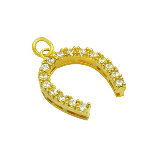 GOLD PLATED 14MM CZ HORSESHOE PENDANT