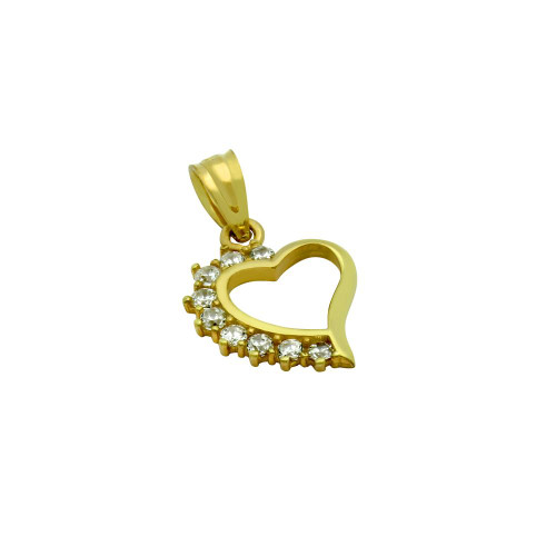GOLD PLATED HIGH POLISH CZ SMALL HEART PENDANT
