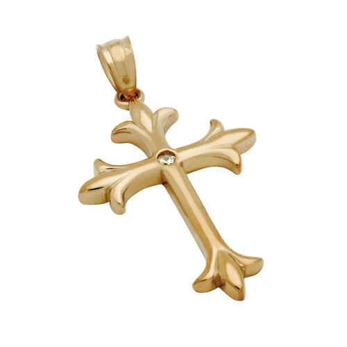 ROSE GOLD PLATED HIGH POLISH FLEUR DE LIS CROSS WITH 2MM ROUND CZ