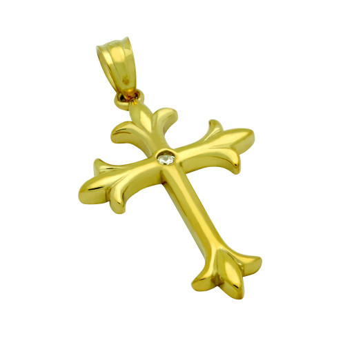 GOLD PLATED HIGH POLISH CZ FLEUR DE LIS CROSS WITH 2MM ROUND CZ