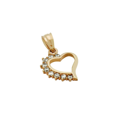 ROSE GOLD PLATED HIGH POLISH CZ SMALL HEART PENDANT