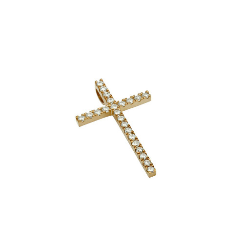 SMALL ROSE GOLD PLATED CROSS PENDANT WITH CZS