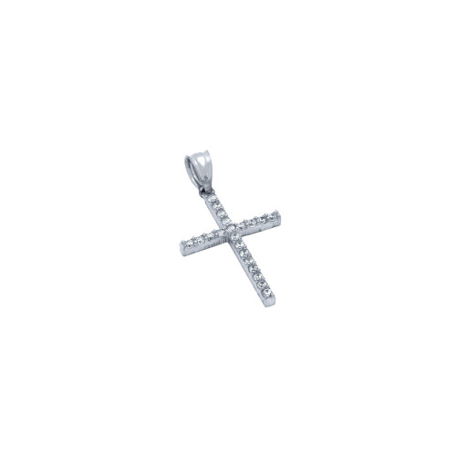 RHODIUM PLATED CROSS PENDANT WITH CZS