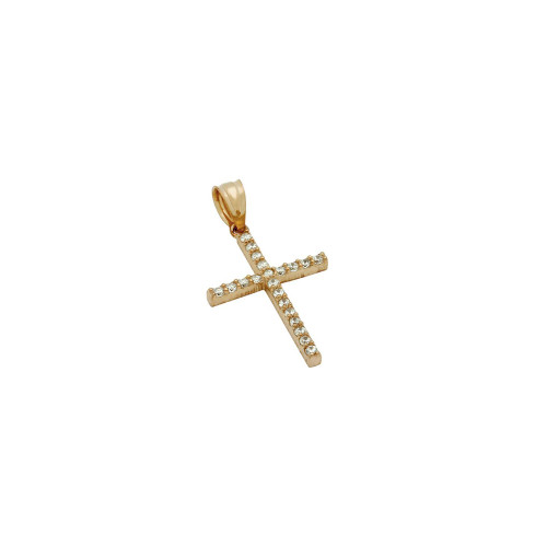ROSE GOLD PLATED CROSS PENDANT WITH CZS