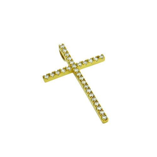 MEDIUM GOLD PLATED CROSS PENDANT WITH CZS