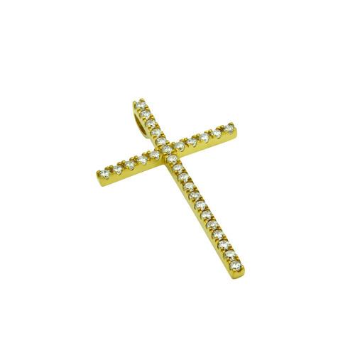 MEDIUM GOLD PLATED CROSS PENDANT WITH CZS