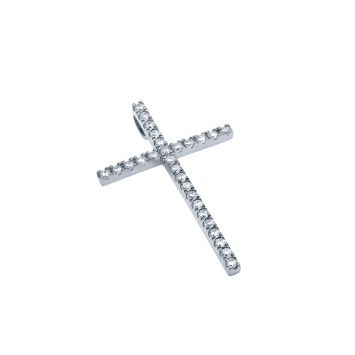 MEDIUM RHODIUM PLATED CROSS PENDANT WITH CZS