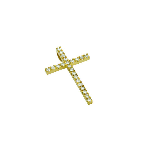 SMALL GOLD PLATED CROSS PENDANT WITH CZS