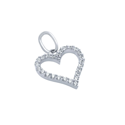 RHODIUM PLATED 13MM CZ OUTLINE HEART PENDANT