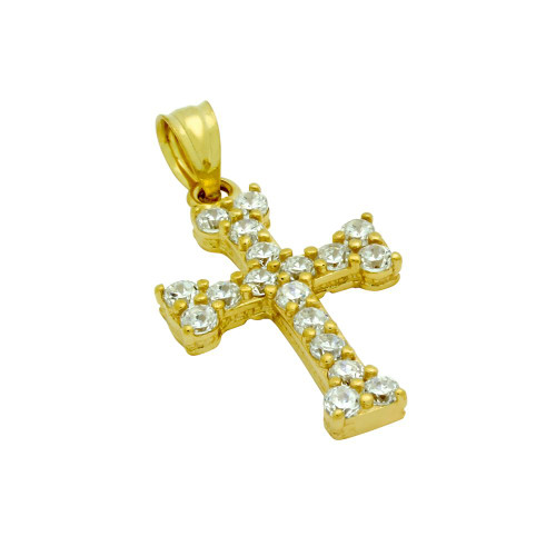 GOLD PLATED CZ EURO CROSS PENDANT