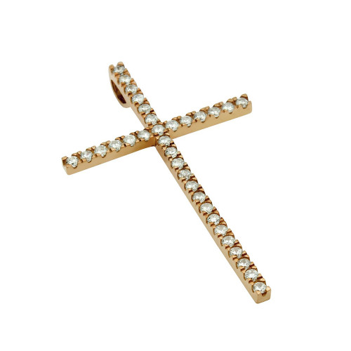 LARGE ROSE GOLD PLATED CROSS PENDANT WITH CZS
