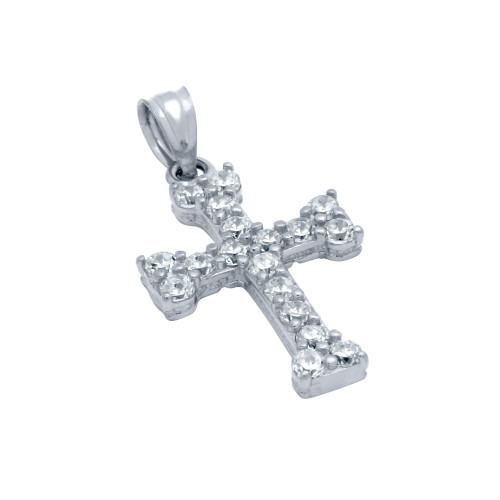 RHODIUM PLATED CZ EURO CROSS PENDANT