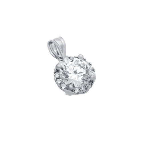 RHODIUM PLATED ROUND CZ PENDANT WITH ALL AROUND SMALL CZ STONES