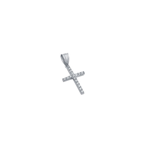 SMALL RHODIUM PLATED SMALL CZ CROSS PENDANT