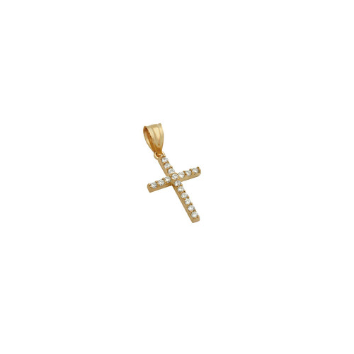SMALL ROSE GOLD PLATED SMALL CZ CROSS PENDANT