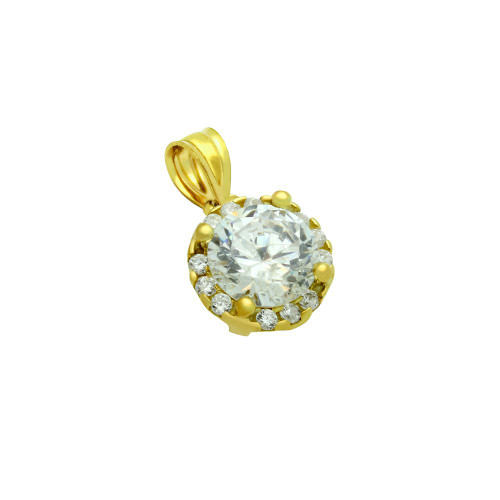 GOLD PLATED ROUND CZ PENDANT WITH ALL AROUND SMALL CZ STONES