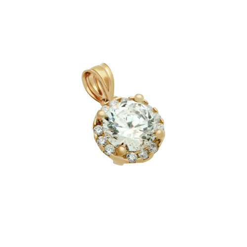 ROSE GOLD PLATED ROUND CZ PENDANT WITH ALL AROUND SMALL CZ STONES