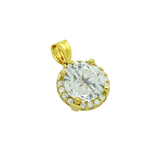 GOLD PLATED 7.5MM ROUND CZ PENDANT WITH ALL AROUND CZ STONES