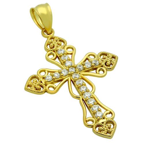 GOLD PLATED PAVE CZ INTRICATE CROSS PENDANT