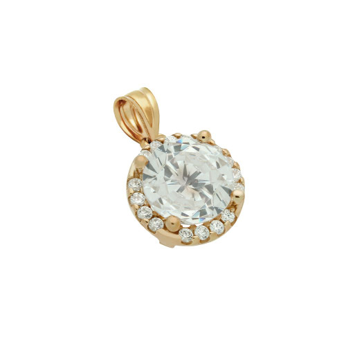 ROSE GOLD PLATED 7.5MM ROUND CZ PENDANT WITH ALL AROUND CZ STONES