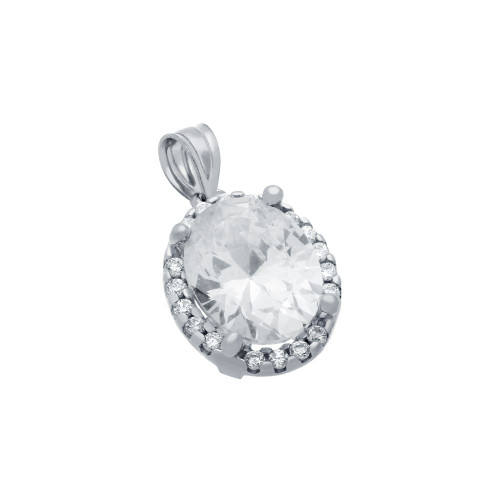 RHODIUM PLATED OVAL CZ PENDANT WITH ALL AROUND SMALL CZ STONES