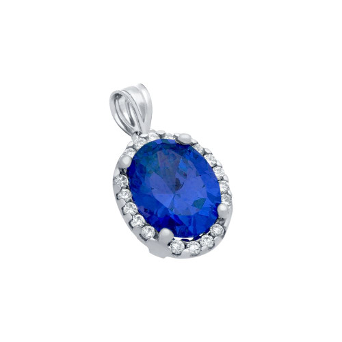 RHODIUM PLATED 8X10 BLUE OVAL CZ PENDANT WITH ALL AROUND CLEAR CZ STONES