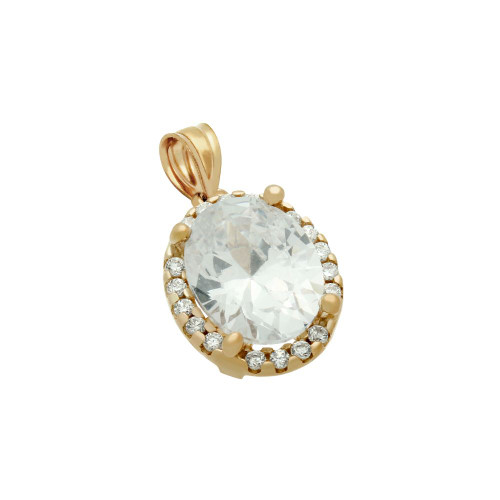 ROSE GOLD PLATED OVAL CZ PENDANT WITH ALL AROUND SMALL CZ STONES