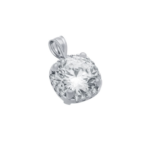 RHODIUM PLATED SQUARE DESIGN 9MM ROUND CZ PENDANT WITH ALL AROUND SMALL CZ STONES