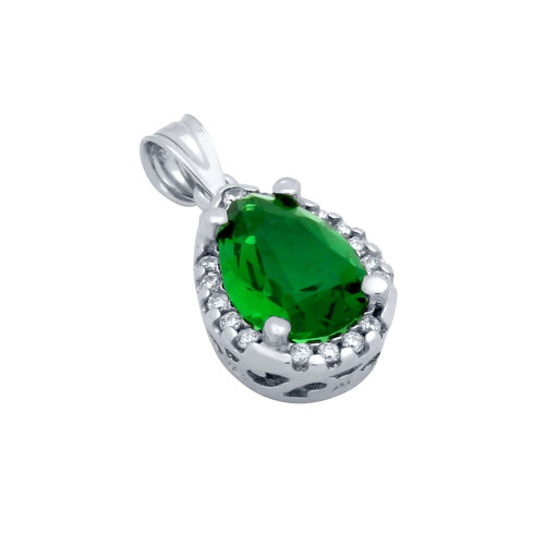 GREEN EMERALD CRYSTAL RHODIUM PLATED TEARDROP PENDANT WITH ALL AROUND SMALL CZ STONES