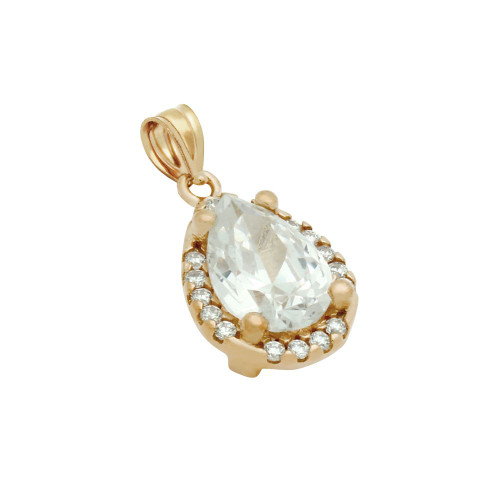 ROSE GOLD PLATED TEARDROP CZ PENDANT WITH ALL AROUND SMALL CZ STONES
