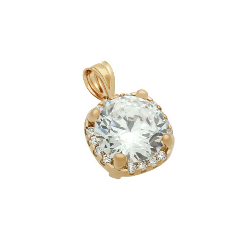 ROSE GOLD PLATED SQUARE DESIGN 9MM ROUND CZ PENDANT WITH ALL AROUND SMALL CZ STONES