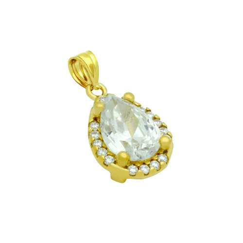 GOLD PLATED TEARDROP CZ PENDANT WITH ALL AROUND SMALL CZ STONES