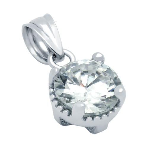 RHODIUM PLATED APRIL BIRTHSTONE CLEAR ROUND CZ PENDANT