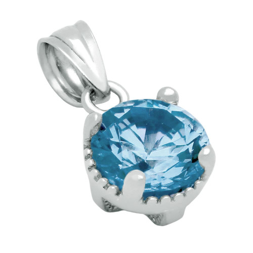 RHODIUM PLATED DECEMBER BIRTHSTONE BLUE TOPAZ COLOR ROUND CZ PENDANT