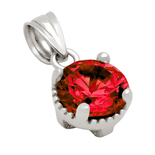 RHODIUM PLATED JANUARY BIRTHSTONE GARNET RED ROUND CZ PENDANT