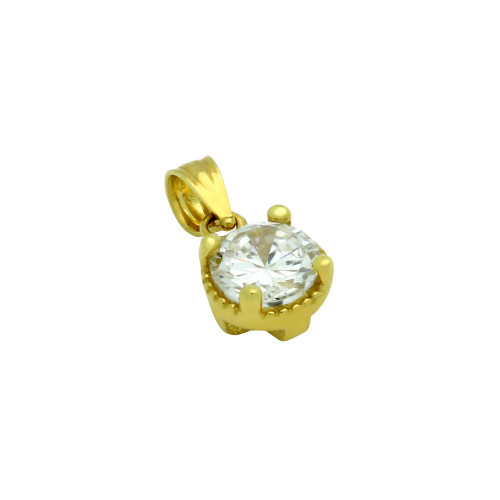 GOLD PLATED ROUND CZ PENDANT