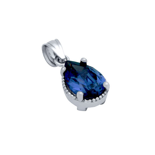RHODIUM PLATED BLUE TEARDROP CZ PENDANT