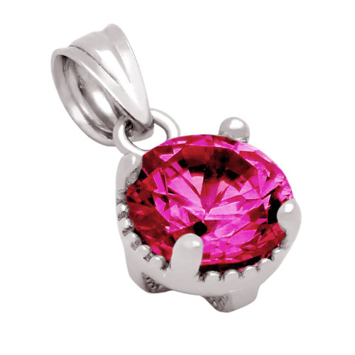 RHODIUM PLATED JULY BIRTHSTONE RUBY RED ROUND CZ PENDANT