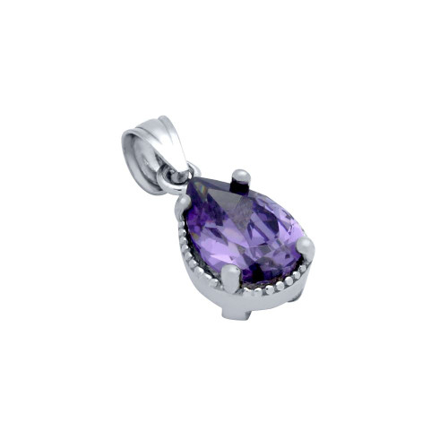 RHODIUM PLATED PURPLE TEARDROP CZ PENDANT
