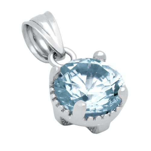 RHODIUM PLATED MARCH BIRTHSTONE AQUAMARINE BLUE ROUND CZ PENDANT