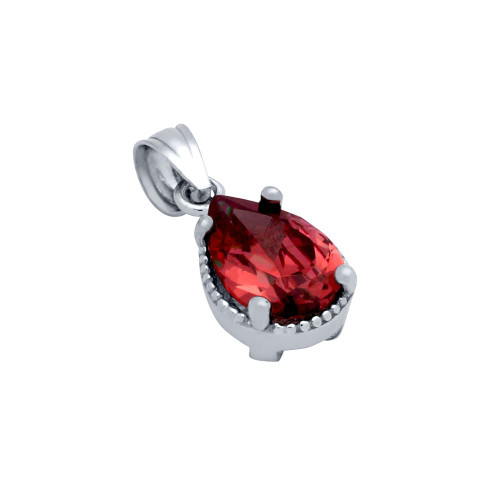 RHODIUM PLATED RED TEARDROP CZ PENDANT
