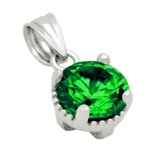 RHODIUM PLATED MAY BIRTHSTONE EMERALD GREEN ROUND CZ PENDANT