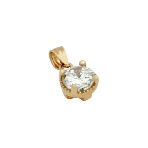 ROSE GOLD PLATED ROUND CZ PENDANT