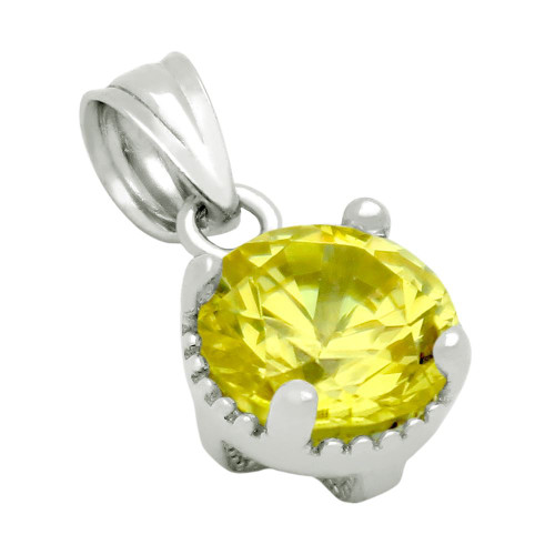 RHODIUM PLATED NOVEMBER BIRTHSTONE CITRINE YELLOW ROUND CZ PENDANT