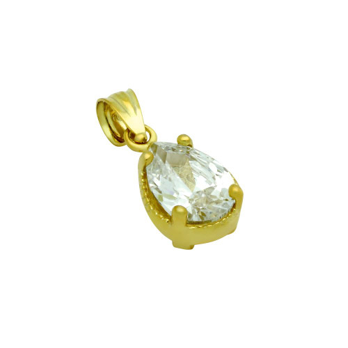 GOLD PLATED TEARDROP CZ PENDANT