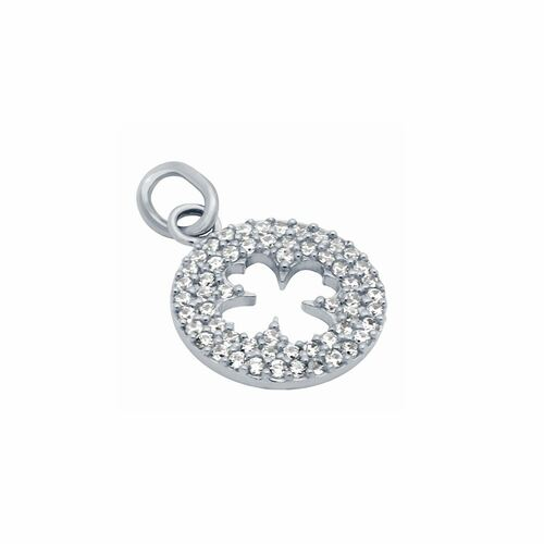 RHODIUM PLATED CZ CUT OUT CLOVER PENDANT