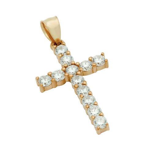 ROSE GOLD PLATED BASIC CZ CROSS PENDANT